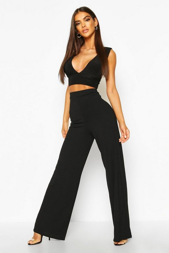 Womens Black Basic Jumbo Rib High Waist Wide Leg Trouser