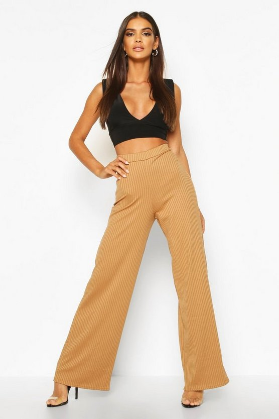 Camel Basic Jumbo Rib High Waist Wide Leg Pants