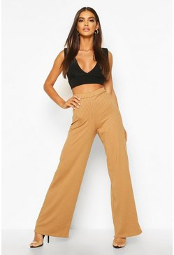 Womens Camel Basic Jumbo Rib High Waist Wide Leg Trouser