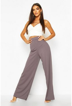 Womens Charcoal Basic Jumbo Rib High Waist Wide Leg Pants