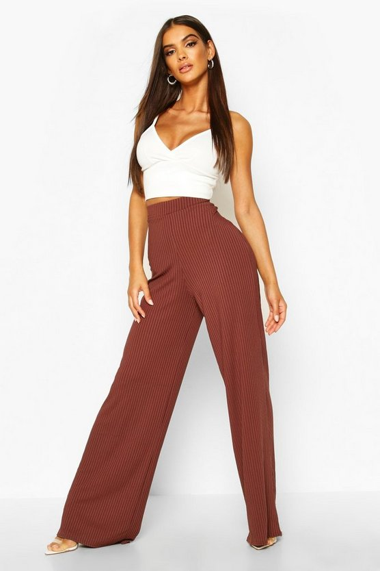 Womens Chocolate Basic Jumbo Rib High Waist Wide Leg Trouser
