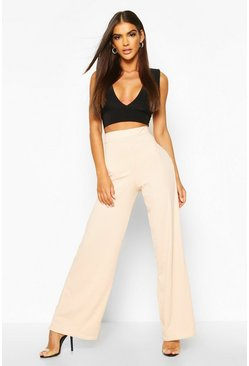 Womens Nude Basic Jumbo Rib High Waist Wide Leg Pants