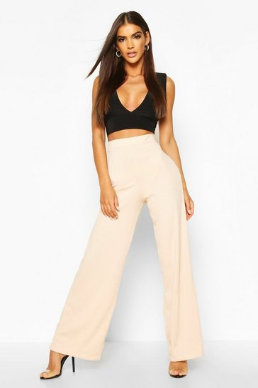 Nude Basic Jumbo Rib High Waist Wide Leg Trouser