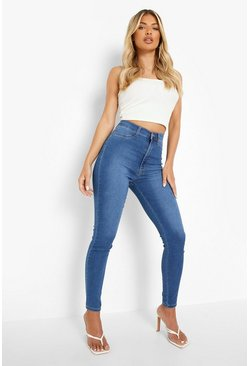 Mid blue Power stretch skinny jeans med superhög midja