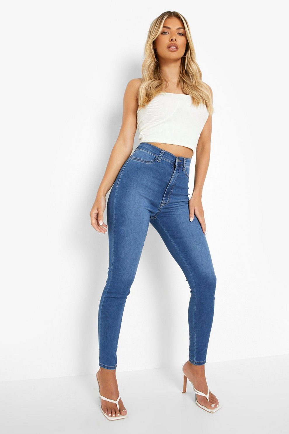 0ef0045bb384 Super High Waist Power Stretch Skinny Jeans | Boohoo