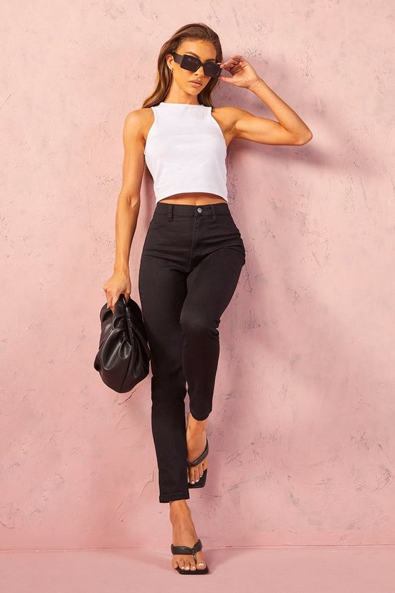 Black Super High Waist Power Stretch Skinny Jeans