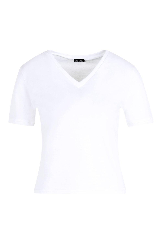 Camiseta básica básica con ribete básica con blanco Camiseta blanco ribete Camiseta T4fIIn