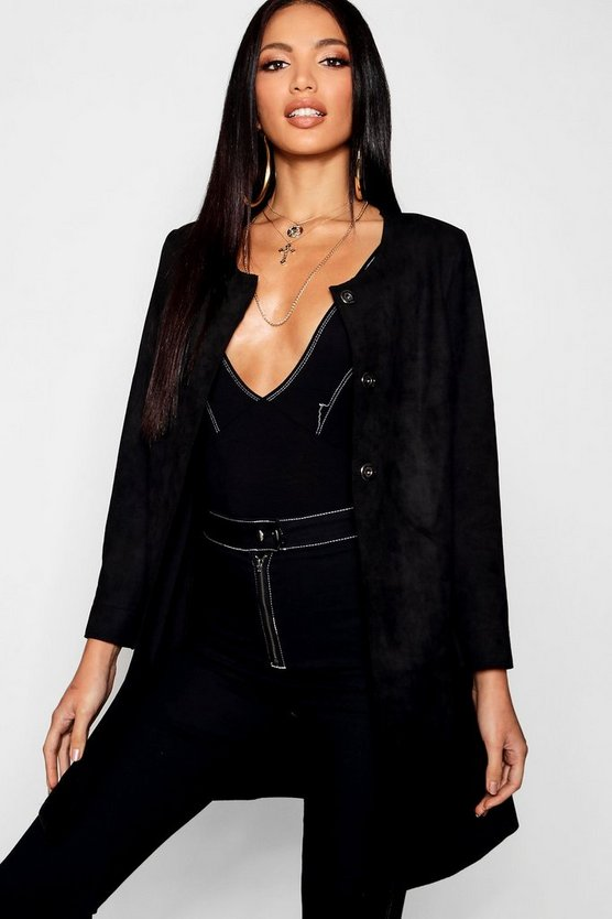 Black Suedette Duster Coat