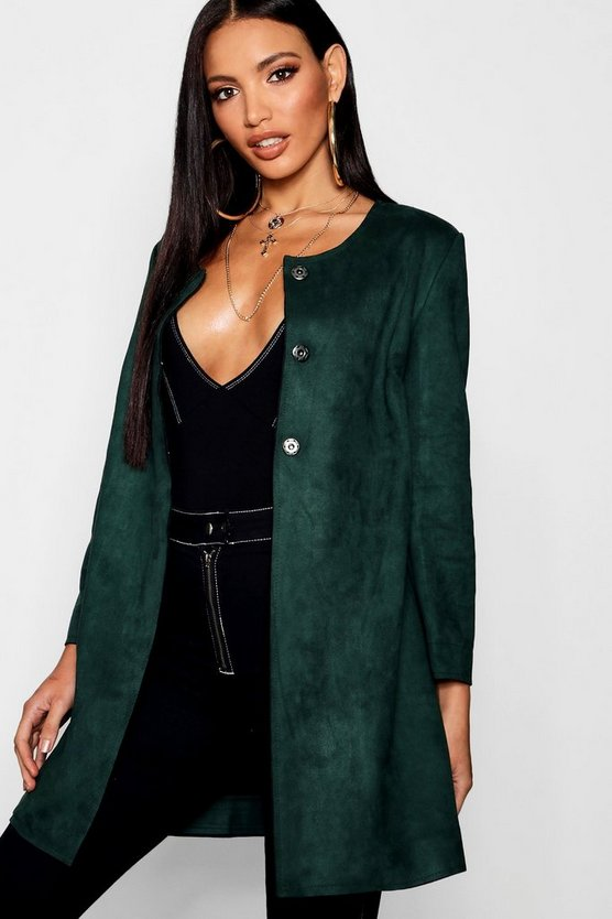 Womens Forest Suedette Duster Coat