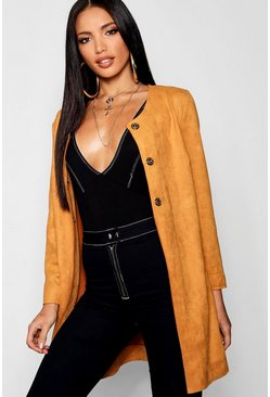 Womens Mustard Suedette Duster Coat