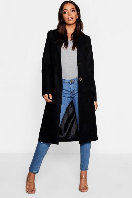 Black Longline Tailored Wool Look Coat