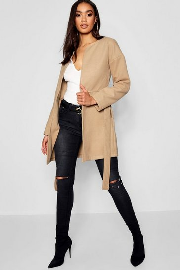 Womens Camel Collarless Belted Wool Look Coat