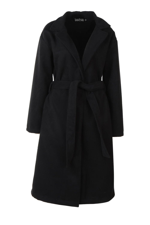 negro y cuello de Abrigo efecto lana con cinturón qXPwC0wI