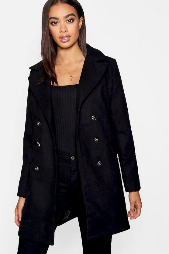 Womens Black Military Button Wool Look Coat