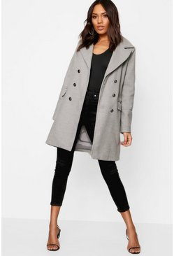Womens Grey Military Button Wool Look Coat