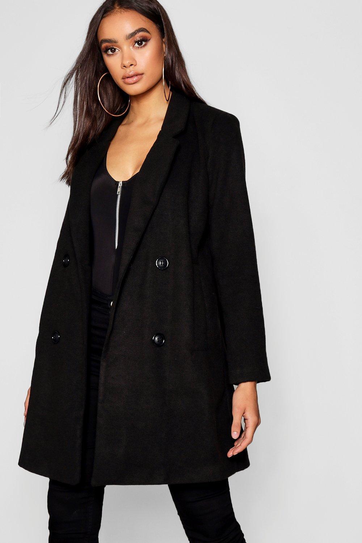 negro lana de botonadura doble Abrigo efecto con T7E0Y