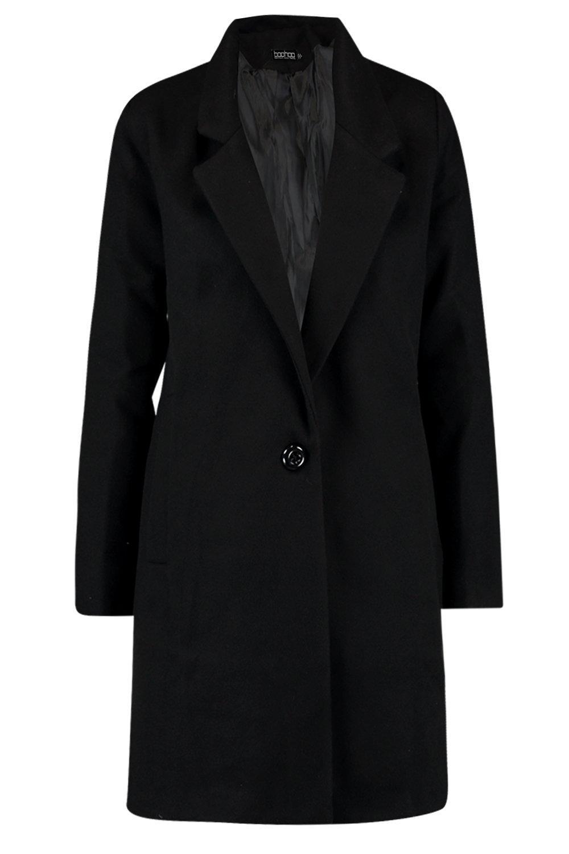 negro lana efecto de con botones Abrigo ancho fwYExBfn5