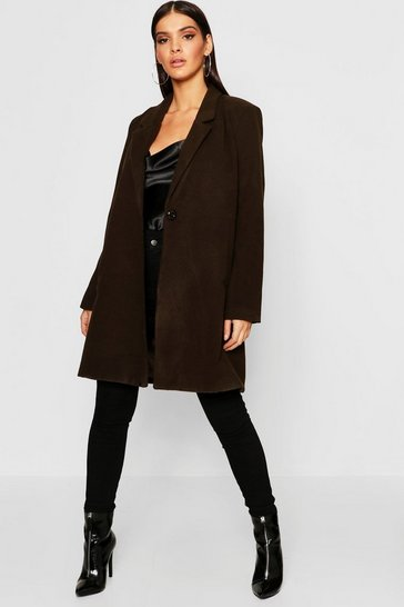 Womens Chocolate Oversized Button Wool Look Coat