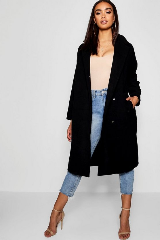 Womens Black Oversized Wool Look Coat