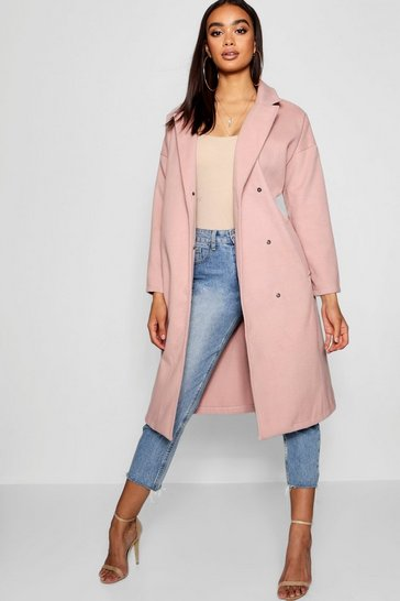 Womens Blush Oversized Wool Look Coat