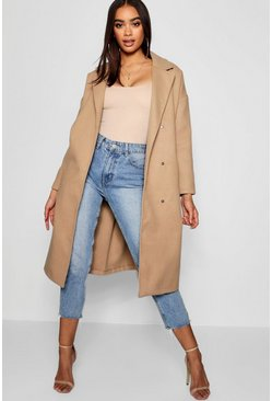 Womens Camel Oversized Wool Look Coat