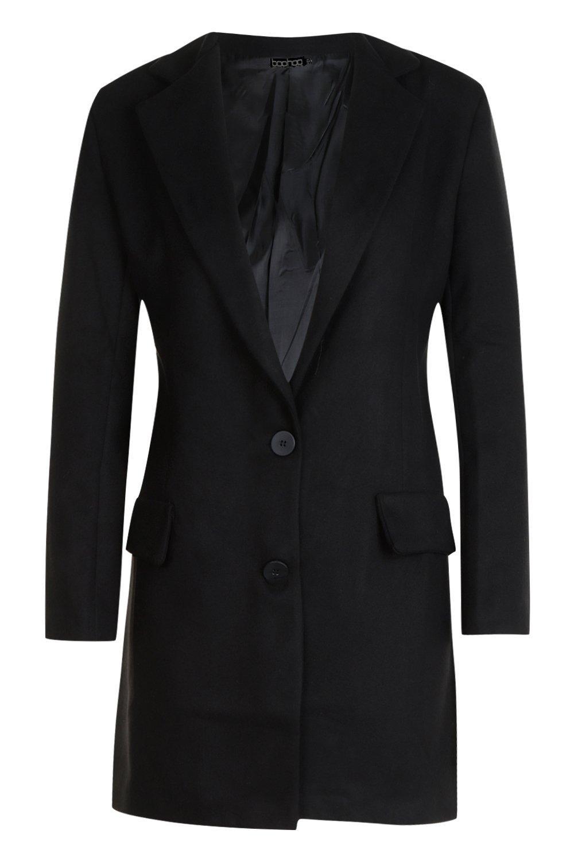 con de de detalle efecto bolsillo Abrigo lana negro tUqwBAdaW