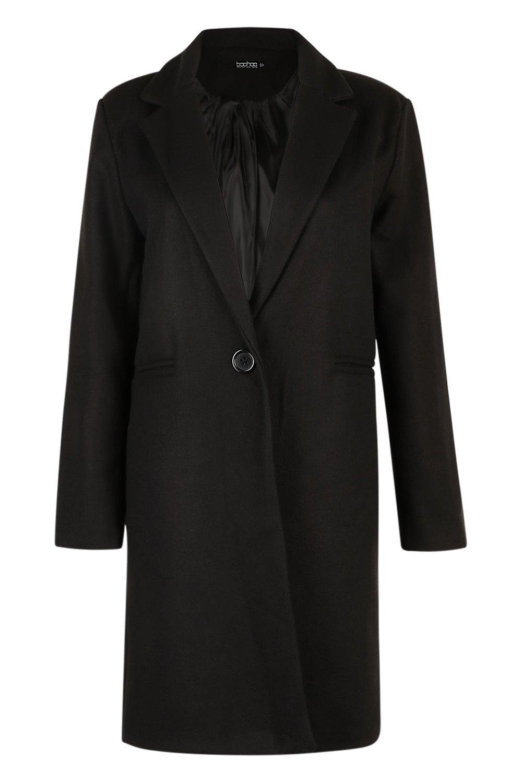 largo de Abrigo entallado efecto lana negro R8BdxwCqv
