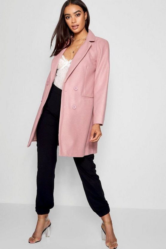 Womens Blush Double Breasted Wool Look Coat