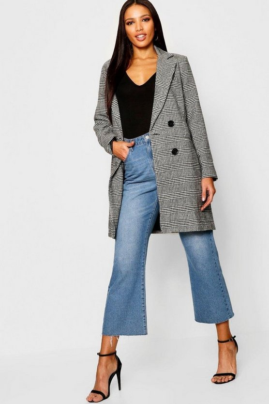 Black Check Double Breasted Wool Look Coat