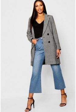 Womens Black Check Double Breasted Wool Look Coat