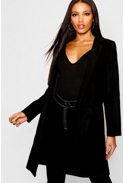 Womens Black Collared Pocket Wool Look Coat