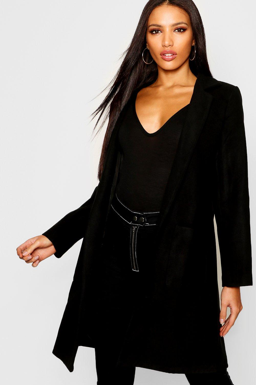 Abrigo efecto lana de bolsillo cuello negro y con FwFpnAWBq