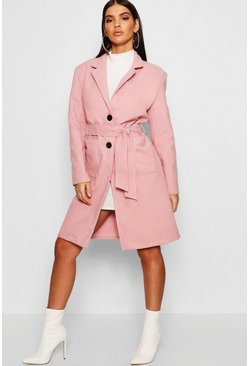 Womens Blush Belted Shawl Collar Wool Look Coat
