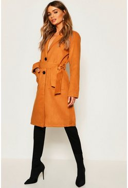 Womens Camel Belted Shawl Collar Wool Look Coat