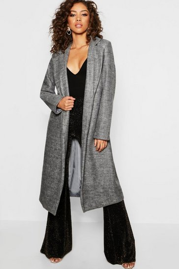 Womens Grey Longline Collared Wool Look Coat