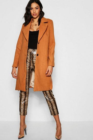 Womens Camel Belted Collared Coat
