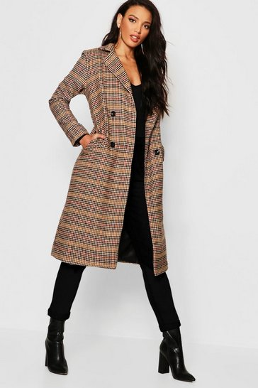 Womens Brown Check Longline Wool Look Coat