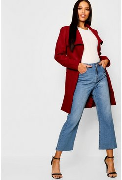Womens Wine Shawl Collar Belted Coat