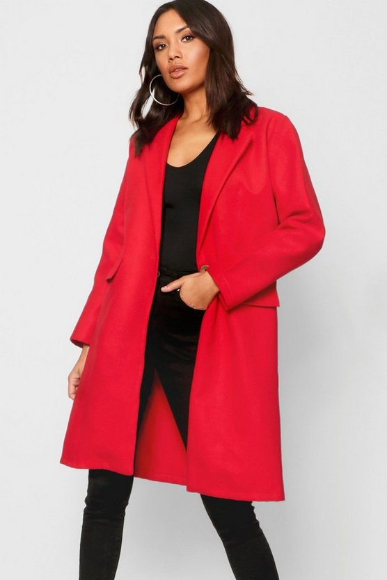 Collared Oversize Pocket Wool Look Coat