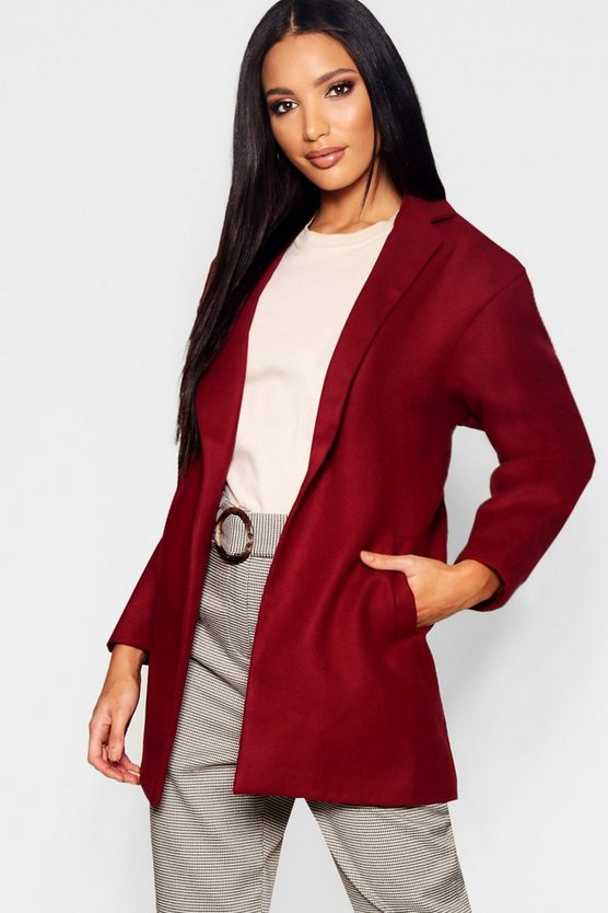 Womens Wine Tailored Wool Look Coat