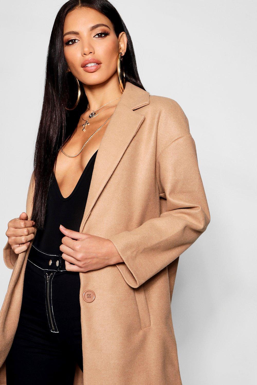 Abrigo cuello con con negro y botones efecto lana 88xnqwr1