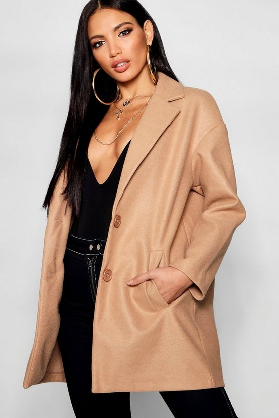 Button Through Collared Wool Look Coat