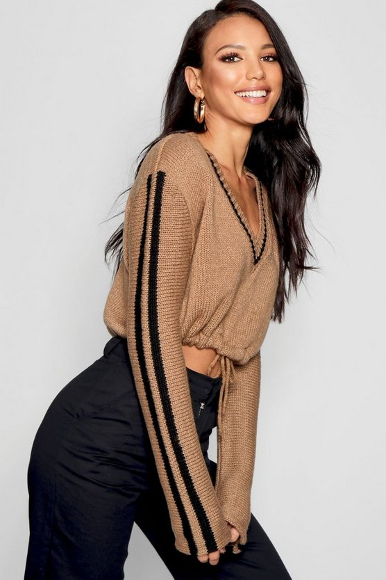 V Neck Crop Jumper With Ruched Waist