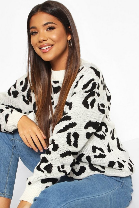 Womens Cream Leopard Knitted Sweater