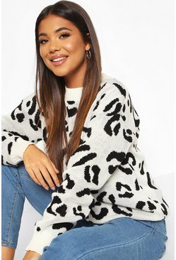 Cream Leopard Knitted Jumper