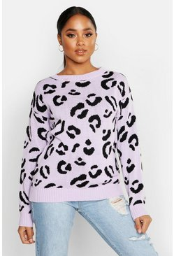 Lilac Leopard Knitted Sweater