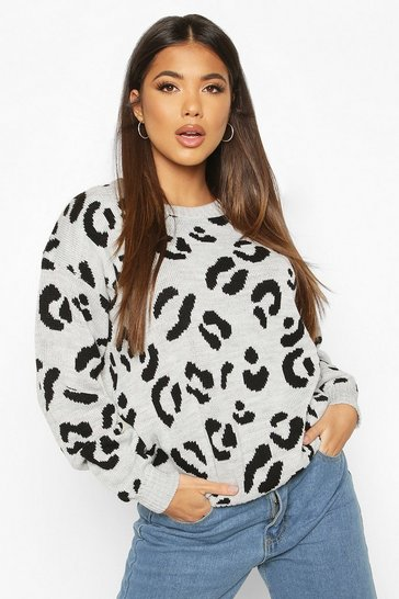 Womens Silver grey Leopard Knitted Jumper