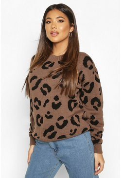 Womens Toffee Leopard Knitted Jumper