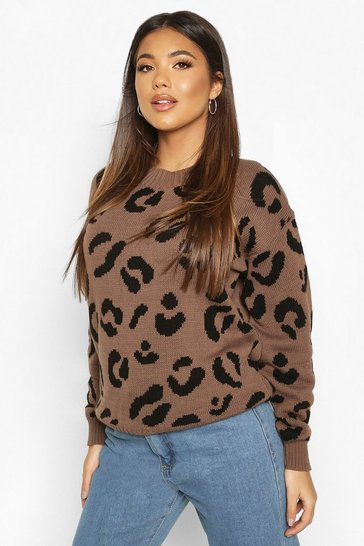 Toffee Leopard Knitted Jumper