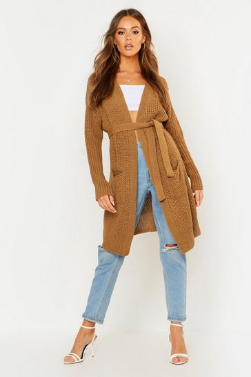Womens Camel Belted Oversized Boyfriend Cardigan
